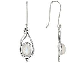 Womens Dangle Earrings Oval Rainbow Moonstone Sterling Silver