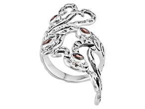 Red Garnet Sterling Silver Ring .48ctw