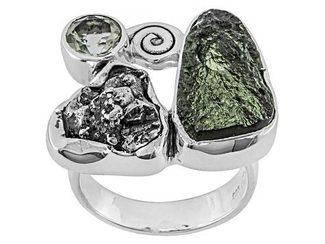Green Moldavite Rough Sterling Silver Ring  72ctw