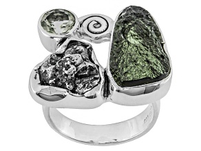 Green Moldavite Rough Sterling Silver Ring .72ctw