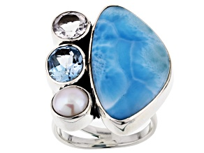 Blue Larimar Sterling Silver Ring 2.84ctw