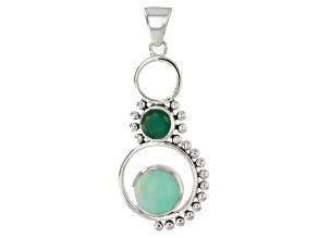 Green Serbian Opal Sterling Silver Pendant .99ctw