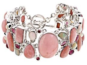 Pink Peruvian Opal Sterling Silver Bracelet. 14.04ctw
