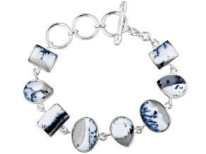 Multicolor Dendritic Opal Sterling Silver Bracelet.