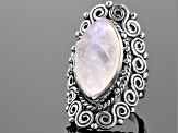 White Moonstone Sterling Silver Ring.