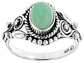 Green Serbian Opal Sterling Silver Ring.