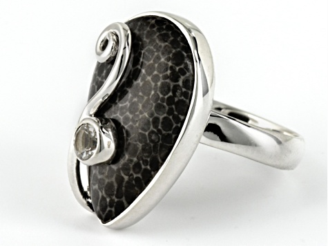 Black Fossilized Coral Sterling Silver Ring. .10ct