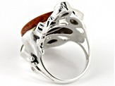 Red Sponge Coral Sterling Silver Ring. 4.30ctw