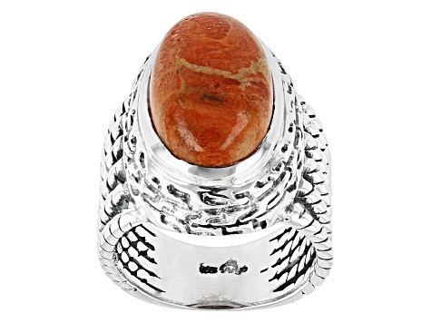 Red Sponge Coral Sterling Silver Ring.