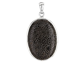 Black Fossilized Coral Sterling Silver Pendant.