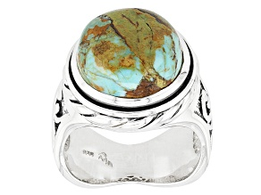 Multicolor Boulder Turquoise Sterling Silver Ring.