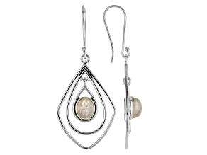 White Rainbow Moonstone Sterling Silver Earrings