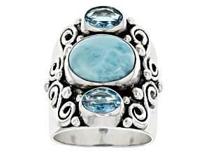 Blue Larimar Sterling Silver Ring 1.71ctw