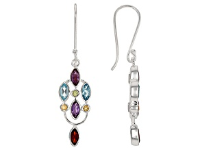 Multi-Gem Sterling Silver Dangle Earrings 2.66ctw