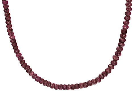 Red Ruby Bead Silver Necklace Approximately 45.00ctw