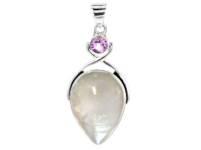 White Rainbow Moonstone Sterling Silver Pendant 1.57ct