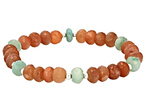 Peach Moonstone Silver Tone Bead Stretch Bracelet