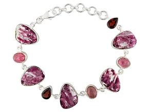 Pink Tourmaline Sterling Silver Bracelet 3.38ctw
