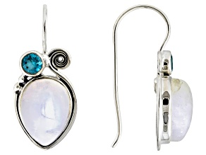 White Rainbow Moonstone Sterling Silver Earrings .83ctw