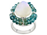 White Rainbow Moonstone Silver Ring 6.40ctw