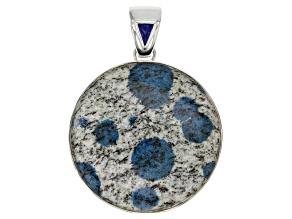 Multicolor Azurite in Granite Sterling Silver Pendant