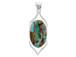 Multicolor Arizona Boulder Turquoise Sterling Silver Pendant
