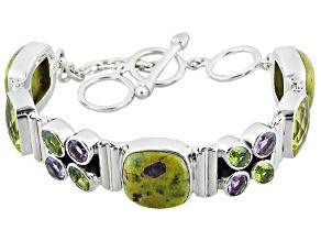 Green Tasmanian Serpentine Sterling Silver Bracelet 24.00ctw