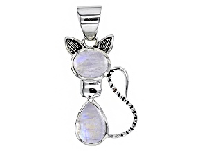 White Rainbow Moonstone Sterling Silver Cat Pendant