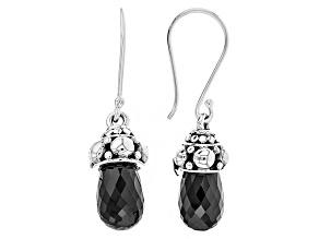 Black Spinel Sterling Silver Earrings 22.50ctw