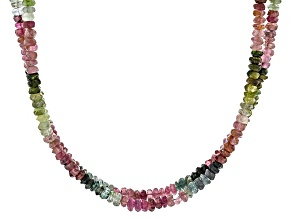 Multi-Tourmaline Sterling Silver Two-Strand Necklace 90.00ctw