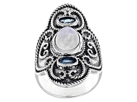 White Rainbow Moonstone Silver Ring .42ctw