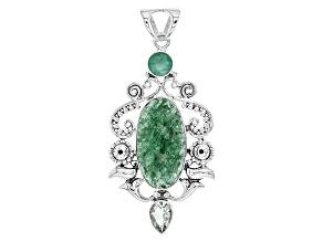 Green Aventurine Quartz Sterling Silver Pendant 3.25ctw