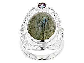 Gray Labradorite Silver Ring .20ctw