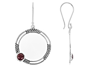 Red indian Ruby Silver Earrings 1.98ctw