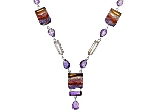Multicolor Amethyst Stalactite Silver Necklace 76.12ctw
