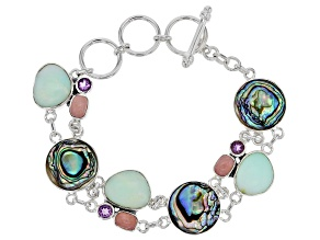 Multicolor Abalone Shell Silver Bracelet 1.08ctw