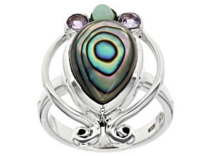 Multicolor Abalone Shell Silver Ring 0.22ctw