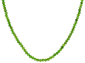 Green Chrome Diopside Silver Necklace Approximately 30.00ctw