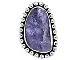 Blue Tanzanite Rough Silver Ring