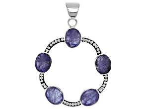 Blue Tanzanite Rough Silver Pendant