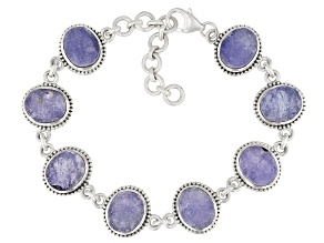 Blue Tanzanite Rough Silver Bracelet