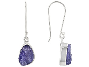 Blue Tanzanite Rough Silver Earrings