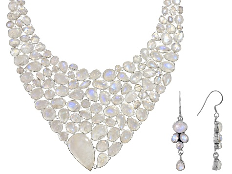 White Rainbow Moonstone Silver Necklace And Earrings Set