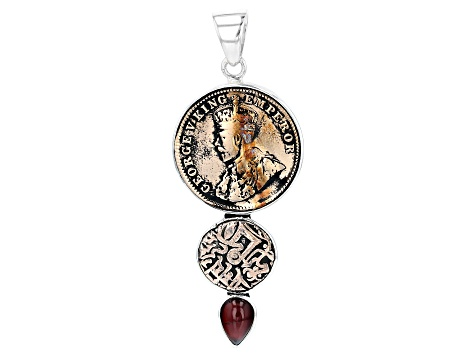 Garnet And Coin Silver Pendant
