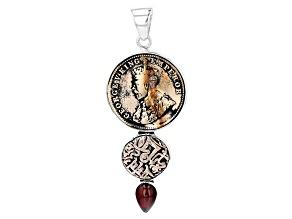 Garnet And Coin Silver Pendant