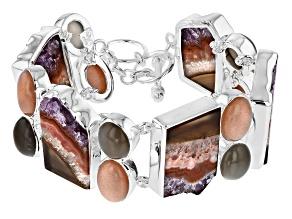 Multicolor Amethyst Stalactite Silver Bracelet