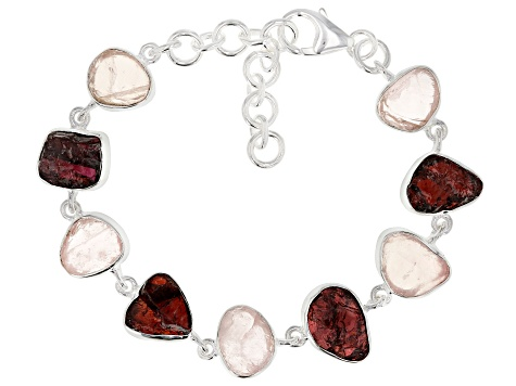 Rose Quartz And Red Garnet Rough Silver Bracelet