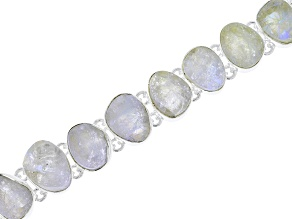 White Moonstone Rough Sterling Silver Bracelet.