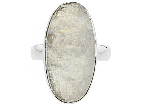White Moonstone Rough Sterling Silver Ring.