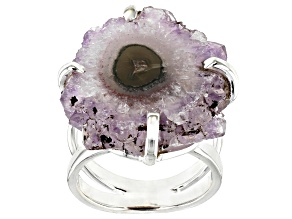 Rough Amethyst Stalactite Sterling Silver Ring